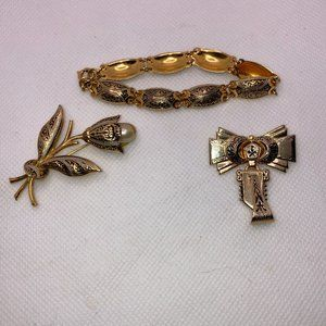 Egyptian Revival Jewelry 2 Brooches & Bracelet